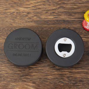 two groomsmen rubber hockey bottle openers