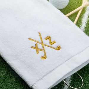 white golf towel with design