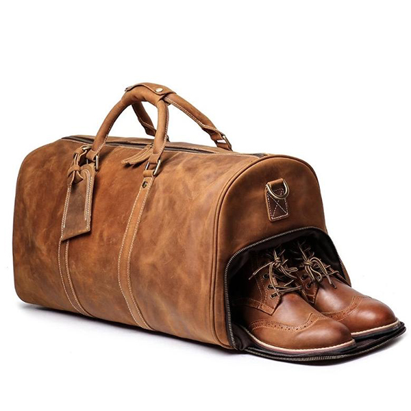LuxeRange Handmade Leather Duffle Bag with Shoe Compartment