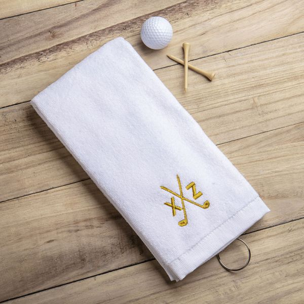 Embroidered Cotton Golf Towel with Hook