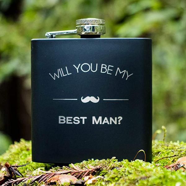 best man proposal flask