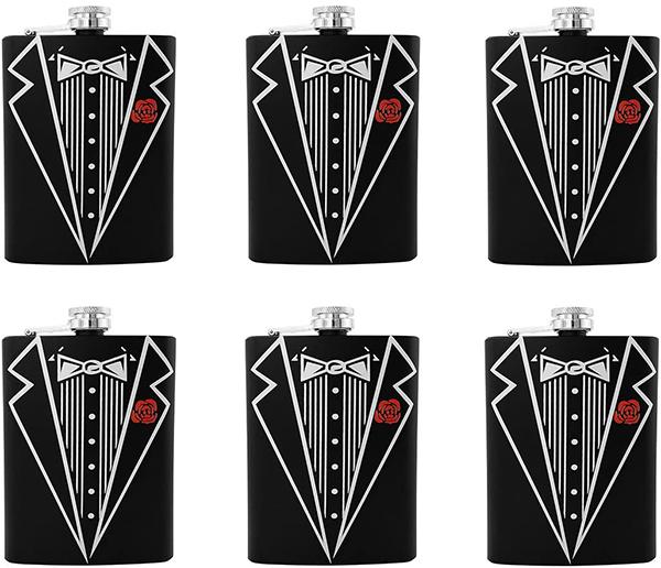 black tuxedo flasks