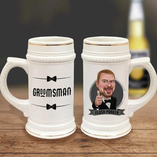 caricature porcelein beer mug