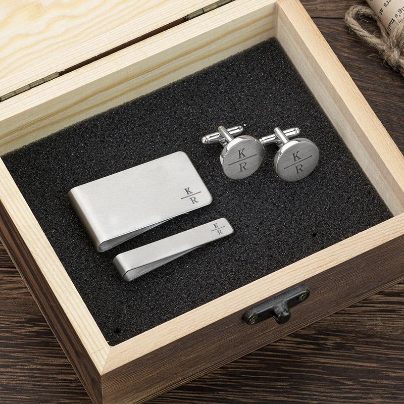 cufflinks tie clip and money clip set