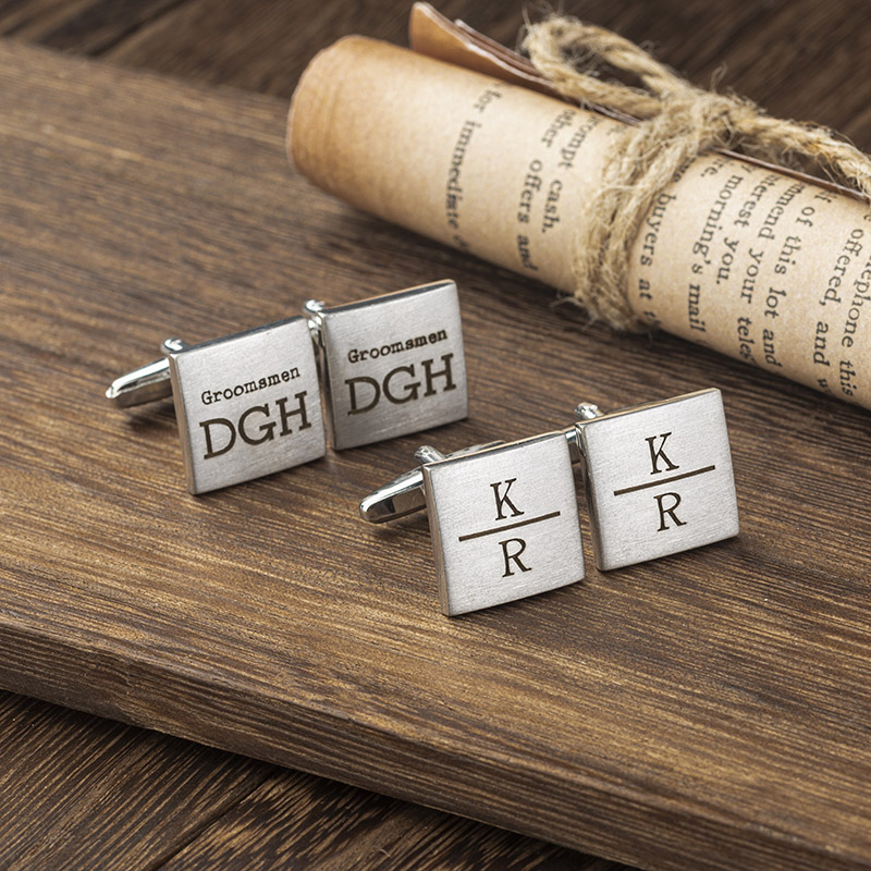 engraved stainless steel square cufflinks