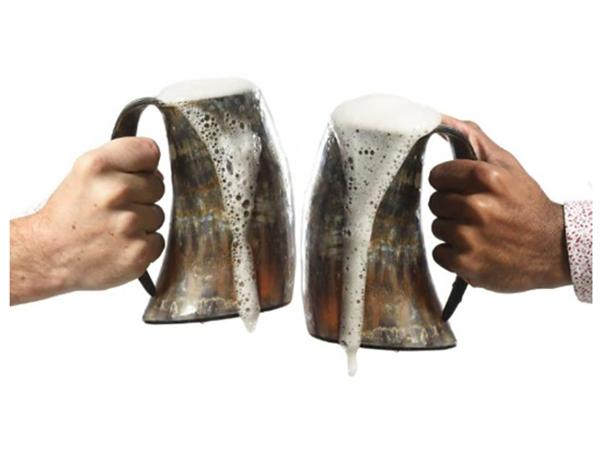 engraved viking ox horn beer mug