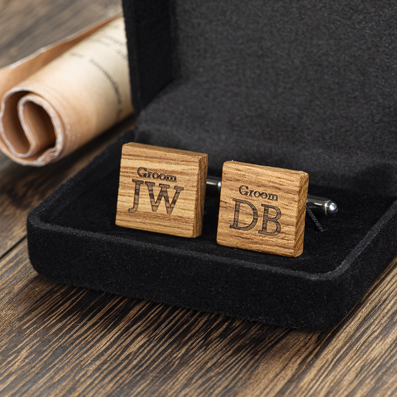 engraved wood square cufflinks in box