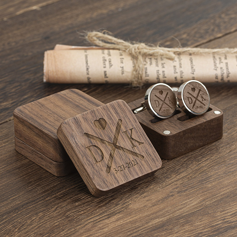 engraved wooden cufflinks with box