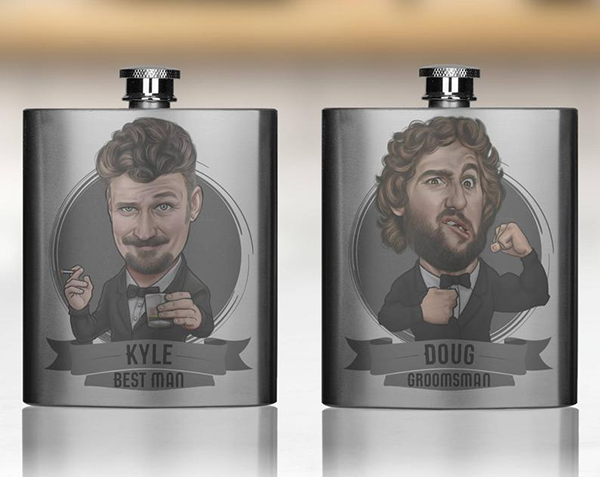 handmadetoonedup caricature flask