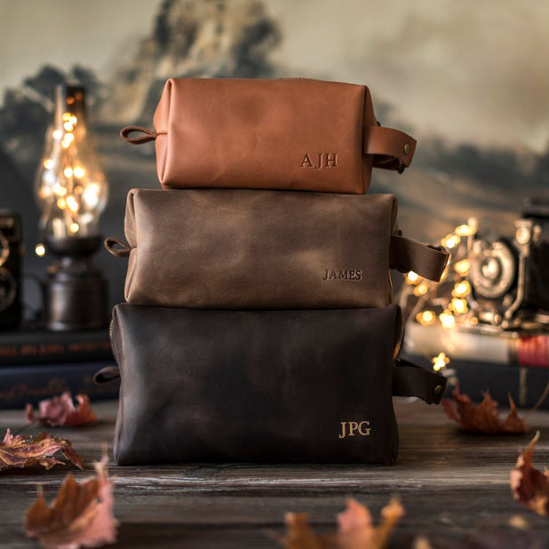 leather toiletry bag for groomsmen
