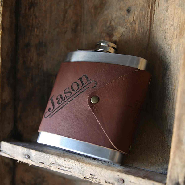 leather wrap flask