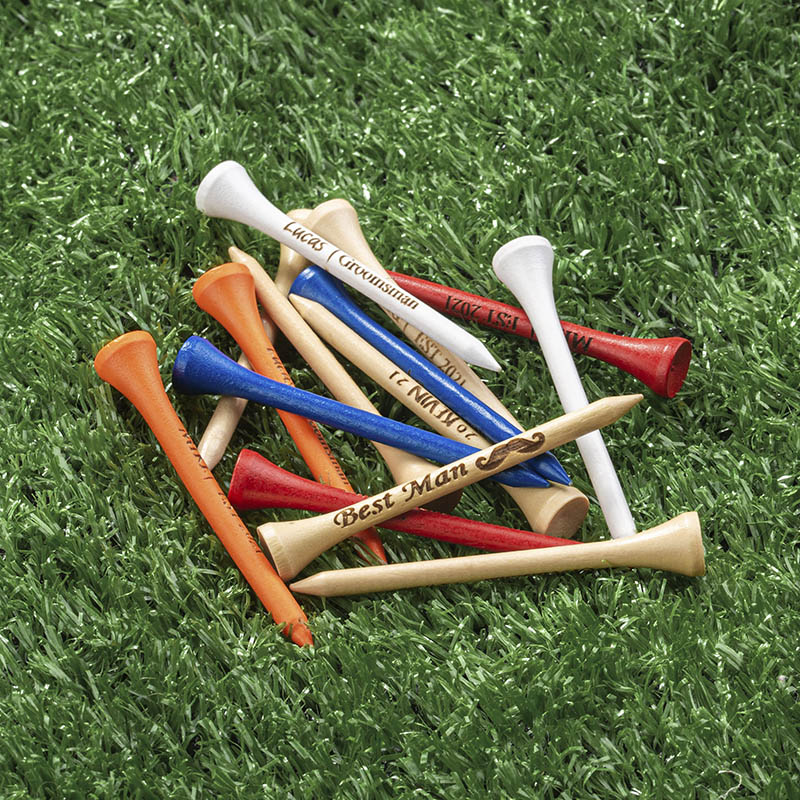 multiple golf tees in different colors
