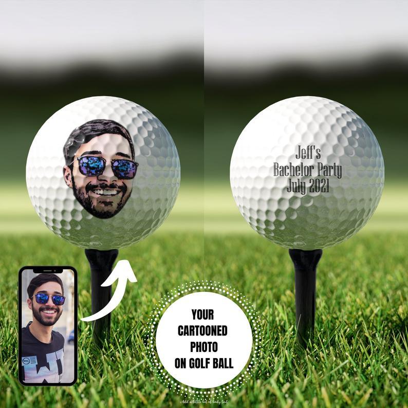 personalized groomsmen cartoon golf ball