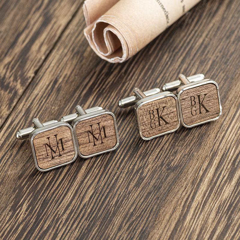 personalized groomsmen square round cufflinks
