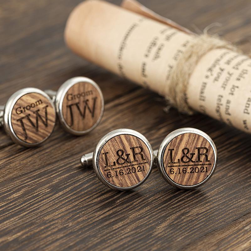 personalized groomsmen wooden round cufflinks