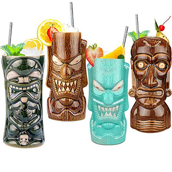 set of 4 tiki mugs
