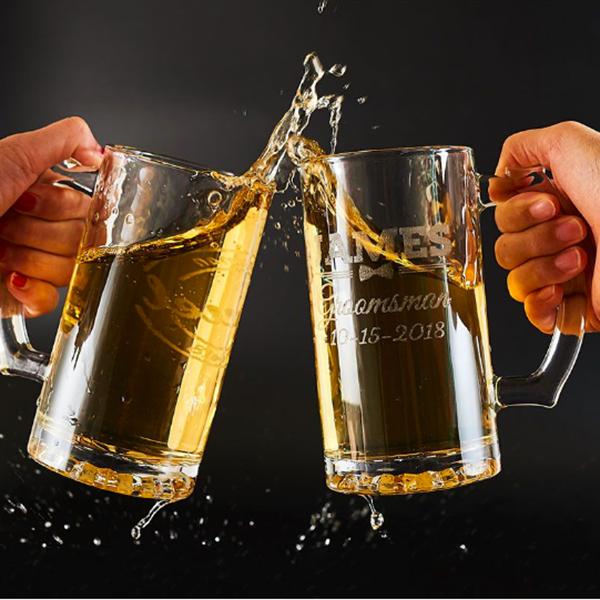 sleek glass beer mug