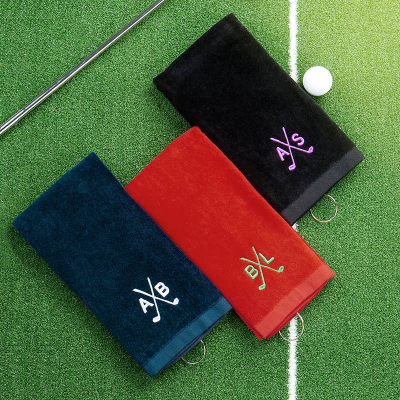 three groomsmen embroidered cotton golf towels