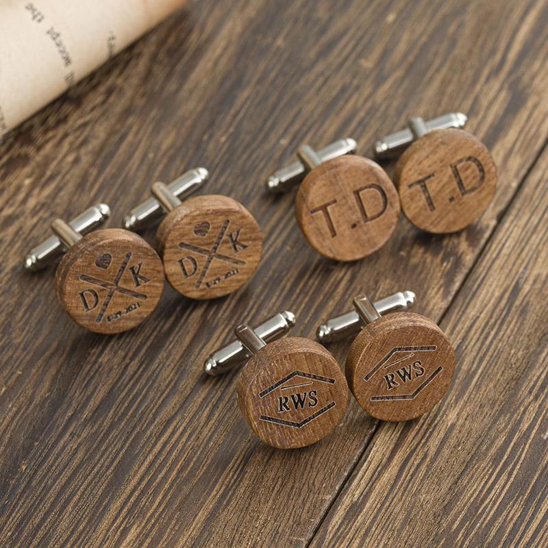three pairs of wood round cufflinks