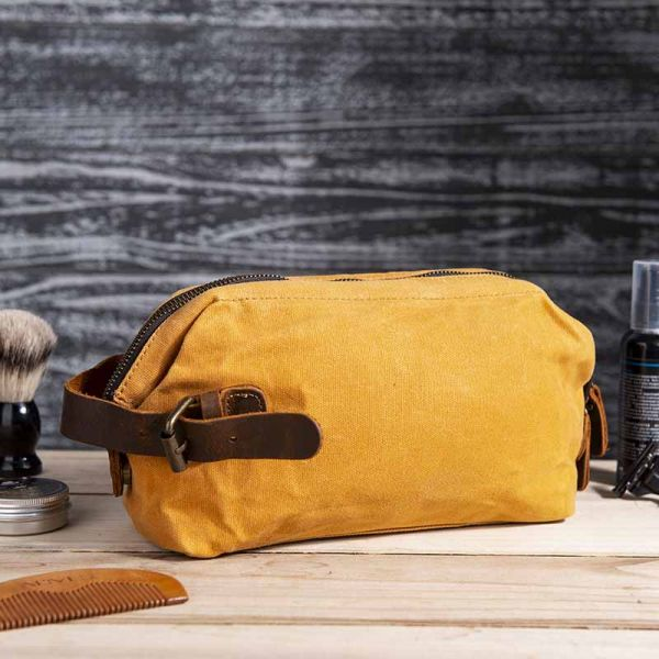 Personalized Waxed Canvas Toiletry Bag